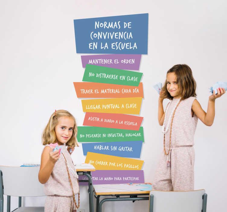 TenVinilo. Vinilo para esucela reglas convivencia . Vinilo adhesivo educativo para escuela con normas sobre convivencia en diferentes colores y puedes elegir el tamaño que desees. Fácil de colocar.