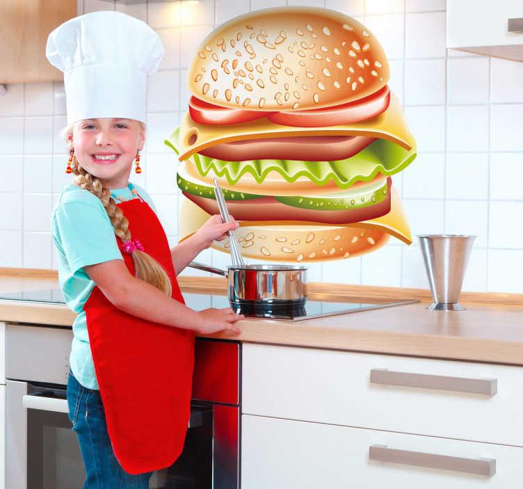 TenStickers. Sticker décoratif hamburger gourmand. Super stickers ultra gourmand avec cet énorme hamburger double fromage.