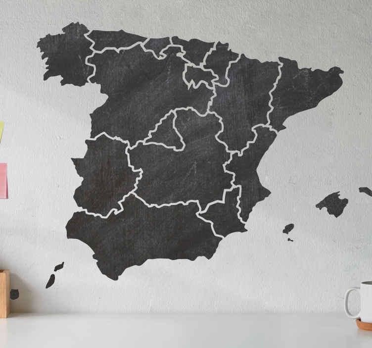 TenVinilo. Vinilo pizarra tiza mapa comunidades España. Pizarra negra adhesiva de superficie que tiene espacio para rellenar Comunidades Autónomas y se puede limpiar en cualquier momento.