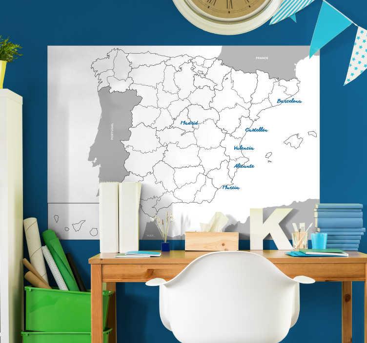 TenVinilo. Pizarra blanca adhesiva provincias España. Pizarra adhesiva de pared para educar a los adolescentes sobre las provincias de España. Producto fácil de colocar.