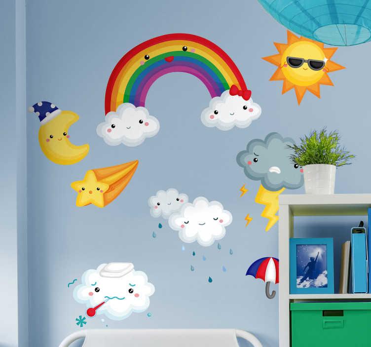 TenStickers. Sticker Chambre Enfant Météorologie. Cet autocollant illustration représente plusieurs dessins symbolisant les éléments de la météo, tels que des nuages, un soleil, une étoile...
