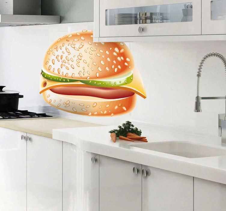 TenStickers. Heerlijke hamburger sticker. Maak je keuken smakelijker met deze heerlijke hamburgr sticker! Je krijgt al honger als je ernaar kijkt! Verkijgbaar in het formaat dat jij wilt!