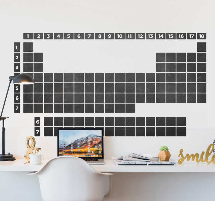 TenStickers. Periodic table chalkboard  wall Sticker. Trying to learn the periodic table? This chalkboard periodic table sticker is available in a variety of sizes and is easy to apply.