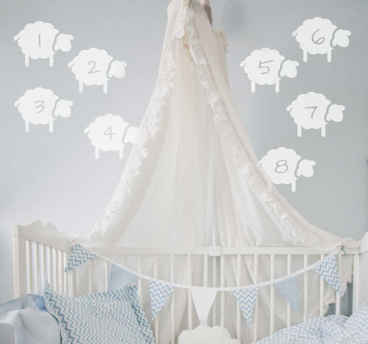 TenStickers. Counting sheep nursery wall stickers. Help your children drift off to a peaceful sleep with these counting sheep wall stickers. Choose from over 50 colours and a wide range of sizes!