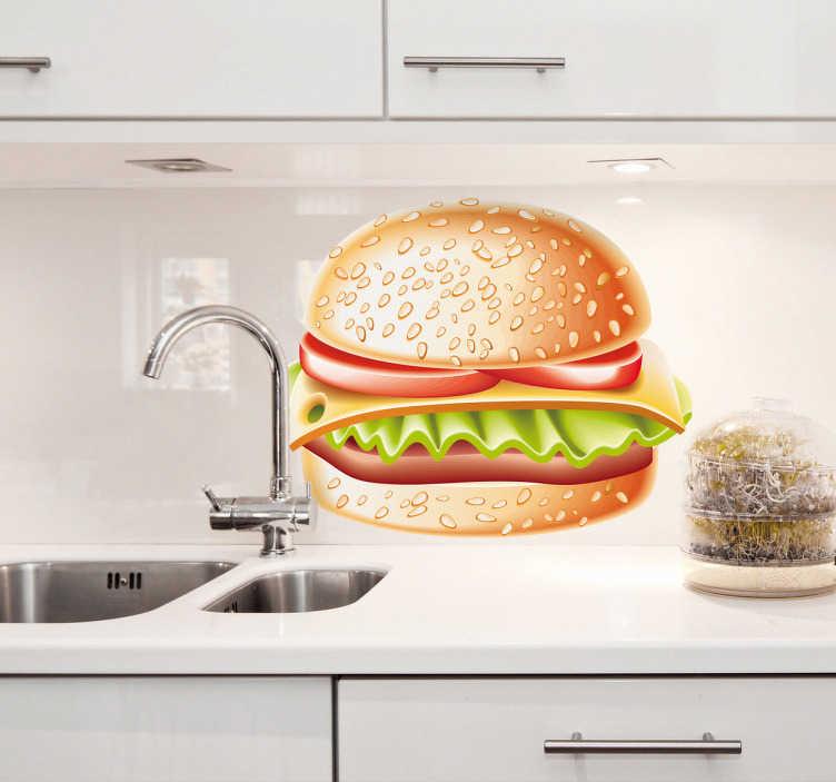 TenStickers. Adesivo decorativo illustrazione hamburger 6. Sticker decorativo che raffigura un gustoso hamburger con lattuga, formaggio e fette di pomodoro. Ideale per decorare in maniera invitante la tua cucina.