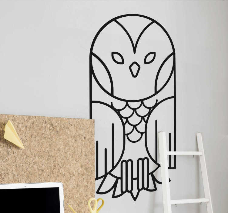 TenStickers. Geometric owl animal wall sticker. Give any room a little more wisdom with this geometric abstract owl wall sticker. Choose from over 50 colours and a range of sizes!
