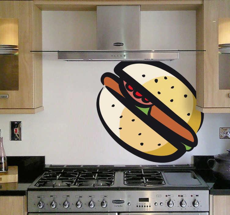 TenStickers. Naklejka dekoracyjna ilustracja hamburger. Śmieszna naklejka dekoracyjna, która przedstawia rysunek hamburgera, którym możesz ozdobić swoją kuchnię.