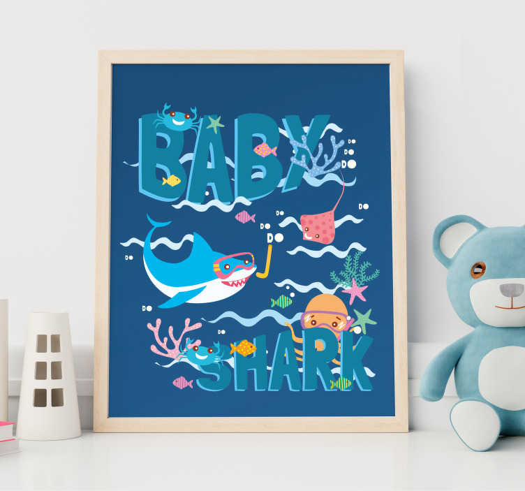 TenStickers. Baby Shark personalizable nursery rhyme wall sticker. Decorative children wall sticker of a nursery rhyme of baby shark designed in beautiful colour with features of sea life. Easy to apply.