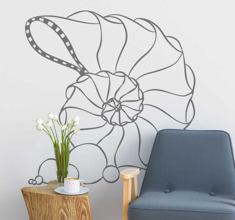 TenStickers. Spiral seashell animal wall sticker. Bring the marine world into your home or office with this geometric spiral seashell wall sticker. Choose from over 50 colours and a variety of sizes!