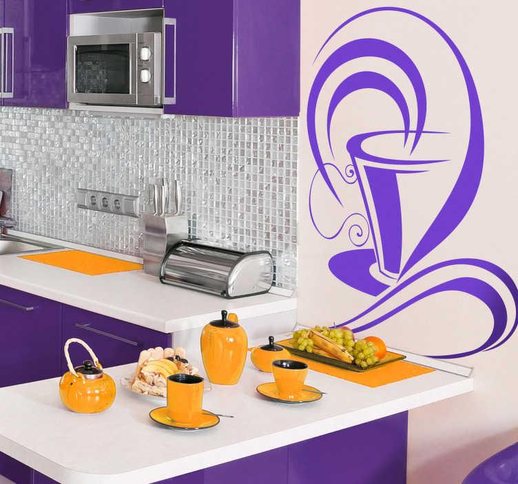 TenStickers. Vinil decorativo chávena café. Vinil decorativo ilustrando uma estilizada e elegante chávena de café! Vinil decorativo ideal para dar uma fragrância agradável à sua cozinha.