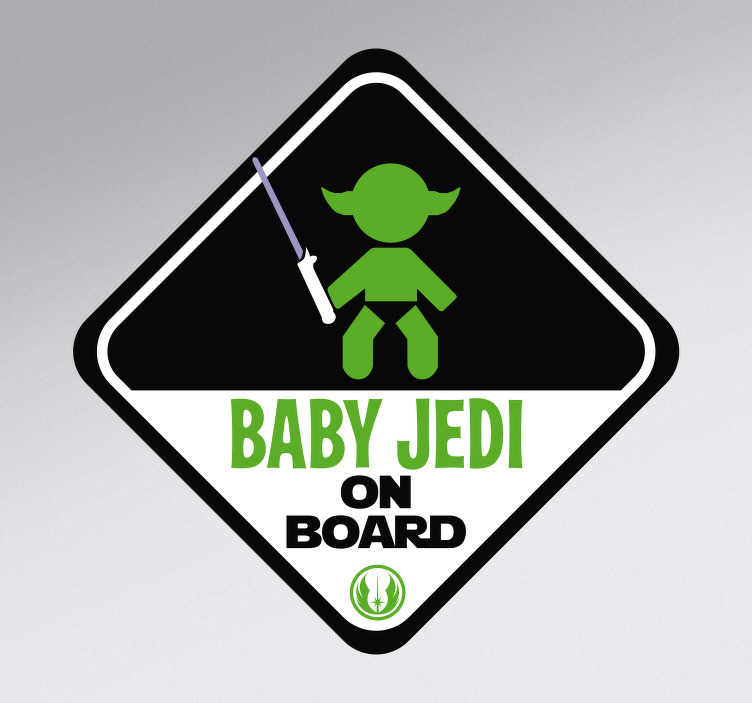 TenStickers. Jedi baby on board sticker. Keep your little Jedi safe as he learns the ways of the force with this Star Wars-themed car sticker. Choose from a range of sizes!