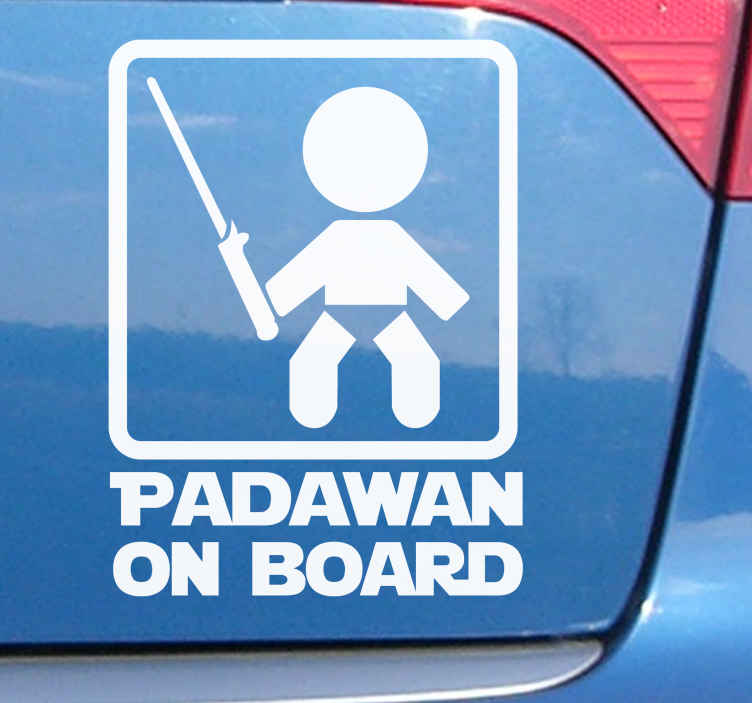 TenStickers. Baby on board Star Wars car sticker. Let everyone know you've got a young Padawan on board with this car sticker. Available in a variety of sizes. Easy to apply.