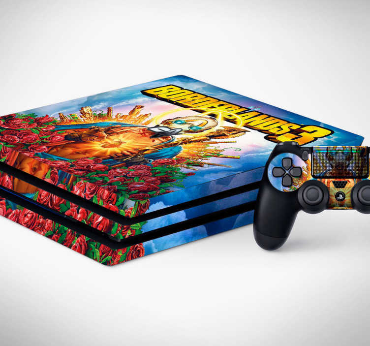TenStickers. Borderlands 3 PS4 sticker. Return to the world of Pandora in style with this epic Borderlands 3 PS4 Sticker. Stick onto any version of Playstion 4. Worldwide Delivery!
