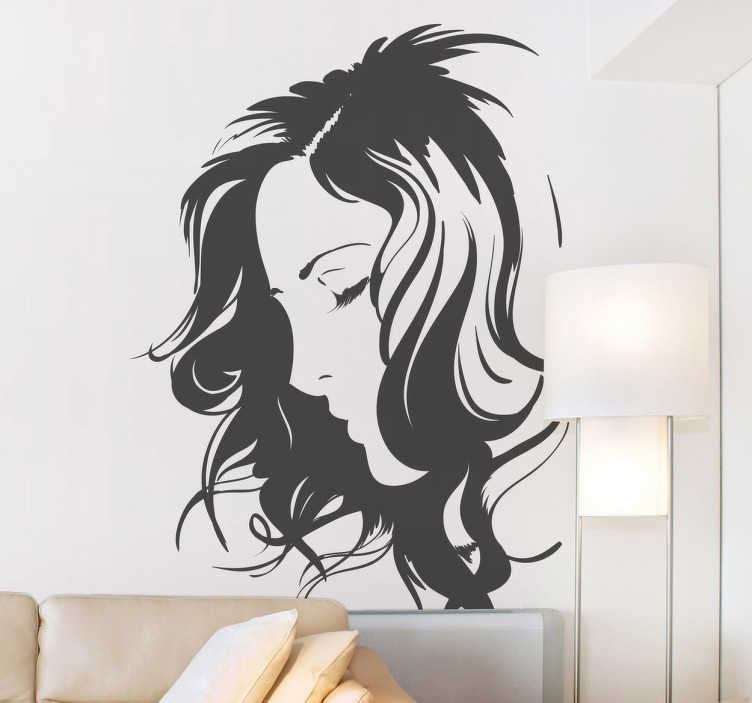TenStickers. Silhouette Face Wall Decal. Decorative silhouette sticker of a woman´s face. Fantastic decal to decorate any room of your house.