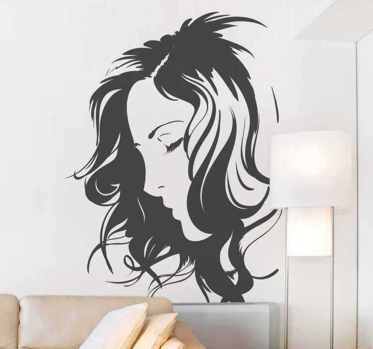 TenStickers. Sticker decorativo viso. Adesivo murale raffigurante il profilo di un viso femminile. Grazia ed eleganza in un'unica decorazione.