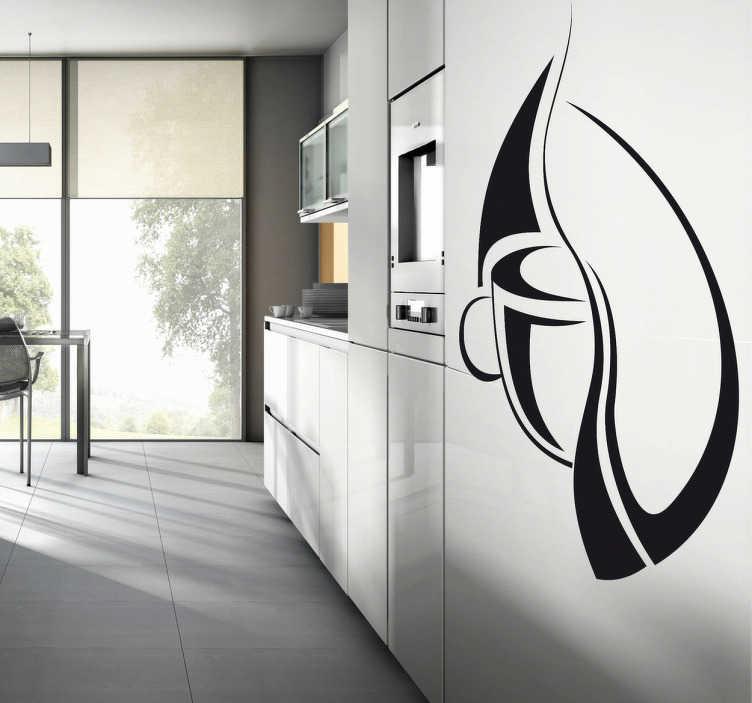 TenStickers. Muursticker kop koffie origineel. Deze muursticker omtrent een kop koffie in een origineel ontwerp. Ideaal ter decoratie van café´s of koffieliefhebbers.