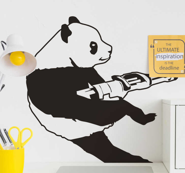 TenStickers. Banksy panda vinyl wall art. Decorative animal wall art sticker of Banksy panda design . Suitable for all flat surface and available i  different colour options.