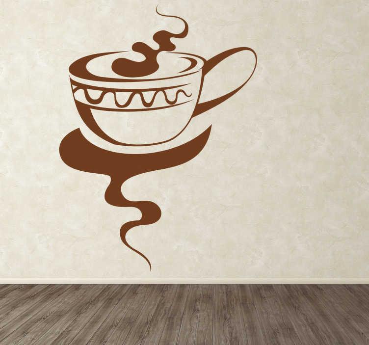 TenVinilo. Vinilo elegante taza de bebida caliente. Adhesivo de una gran taza de café con leche desprendiendo un rico aroma. Decora tu cocina con este original vinilo.