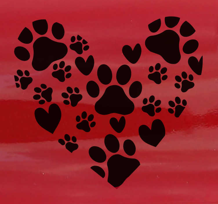 TenStickers. heart pet footprints Car Decal. Decorative car decal of footprints collection that form a heart. The decal design is available in different mono colour options.