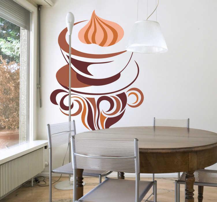 TenStickers. Stencil muro caffè schiuma. Elegante illustrazione di una tazza di caffè. Un adesivo decorativo per tutti gli amanti di questa bevanda.