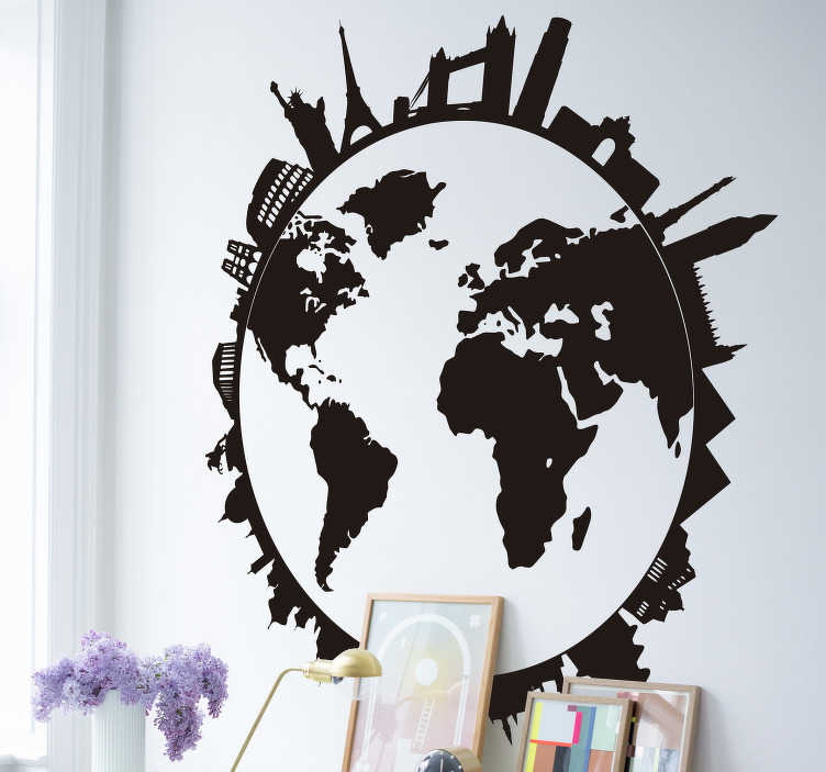 TenStickers. World with monuments wall decor. Easy to apply world map sticker with monuments and city skylines on it. A design that is available in different colour options to enjoy.