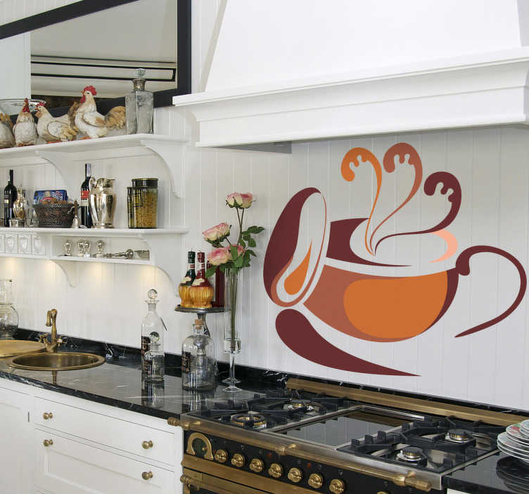 TenStickers. Muursticker kop koffie oranje bruin. Prachtige muursticker van een warme kop koffie waar de warmte nog van af straalt! Afmetingen aanpasbaar. Voordelig personaliseren.