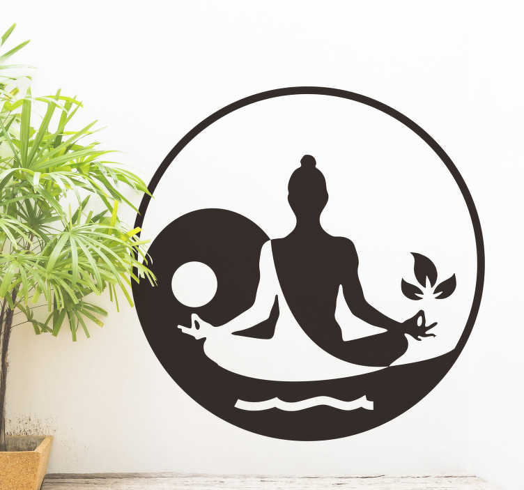 TenStickers. Meditating Buddha Living Room Wall Decor. Let Siddjartha Gautama guide the journey into your soul with this awesome Buddha wall sticker. Worldwide delivery available!