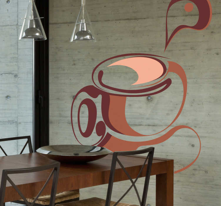 TenStickers. Abstract Coffee Cup Wall Sticker. Do you love coffee? Looking for a new coffee wall decal for your shop? If yes, this coffee wall art sticker is perfect for you!