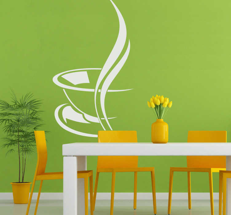 TenStickers. Sticker warme kop koffie. Een prachtige muursticker voor het decoreren van uw keuken.  Deze wandsticker van een dampende tas koffie is nu beschikbaar bij Tenstickers!