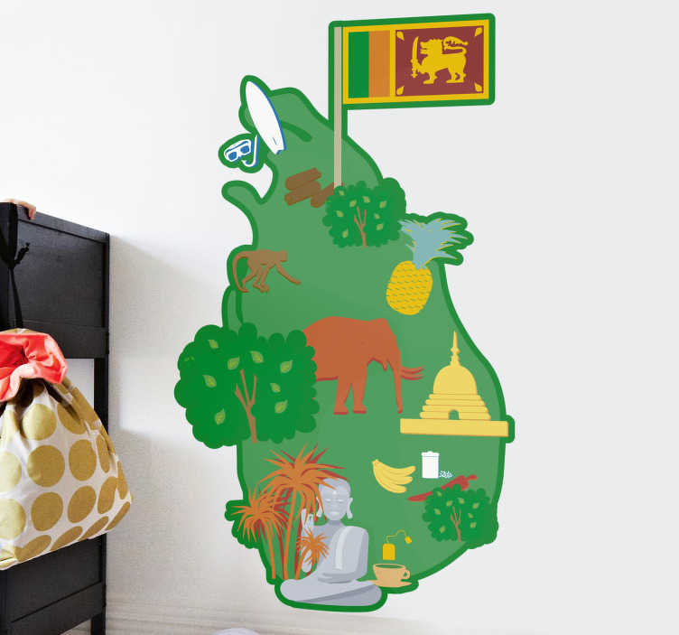 TenStickers. Sri Lanka Map Drawing Sticker. While not being particularly geographically accurate, your kids will love this Sri Lanka map wall sticker. Worldwide delivery available!