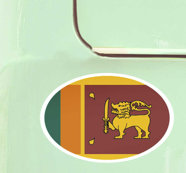 TenStickers. Oval Sri Lanka Flag Sticker. Show off that national and sporting pride with this awesome oval Sri Lanka car sticker. Free worldwide delivery available!