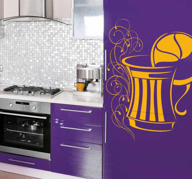 TenStickers. Wandtattoo Küche Erfrischung. Personalisieren Sie Ihre Küche mit diesem Wandtattoo einer Glaskaraffe mit Zitronenscheibe und rankenartiger Dekoration.