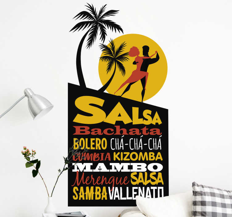 TenStickers. Latin dance concepts dance decal. Dance wall decal of Latin bale dancers with the appearance of the summer. Available in different size with easy application.