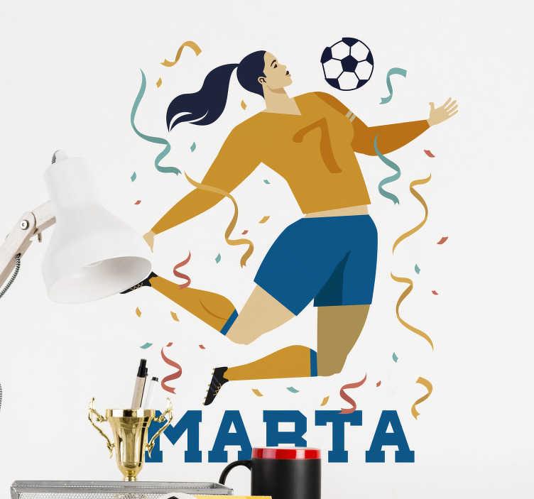 TenStickers. Adesivo personalizzato calcio femminile. Se tua figlia gioca a calcio, sorprendila decorando la sua cameretta con questo sticker murale calcio, che potrai personalizzare con il suo nome!