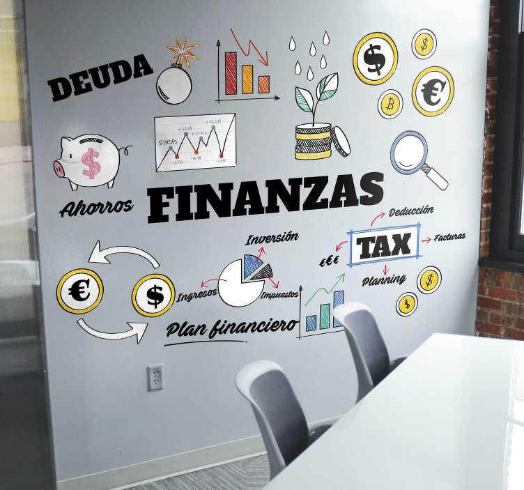 TenVinilo. Vinilo frase escuela de finanzas. Mural para un departamento de administración formado por diversos conceptos relacionados con el término finanzas. Compra Online Segura y Garantizada.