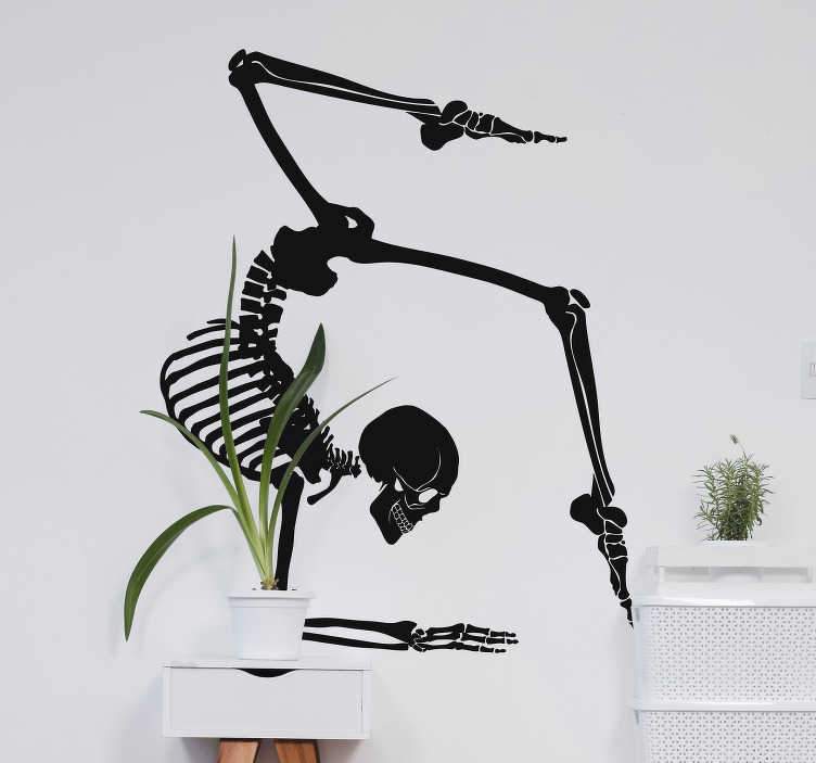 TenStickers. Yoga skeleton wall decor. A science wall art decal of a yoga skeletal exercising .. Available in different colour and sizes. Ideal for both home and yoga centers