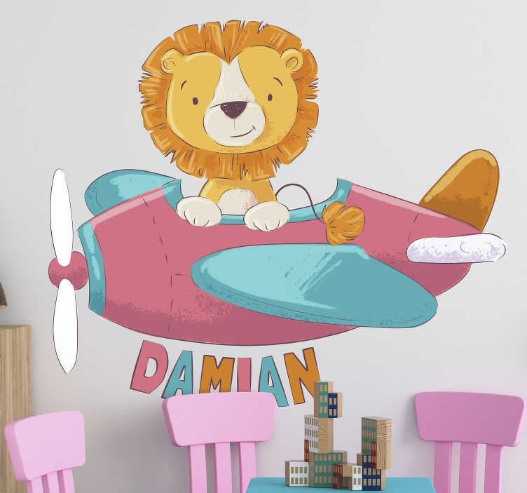 TenStickers. Personalised Lion Kids Wall Sticker. Bring your child's bedroom, playroom or classroom to life with this amazing cartoon lion wall sticker. Choose from a wide range of sizes!