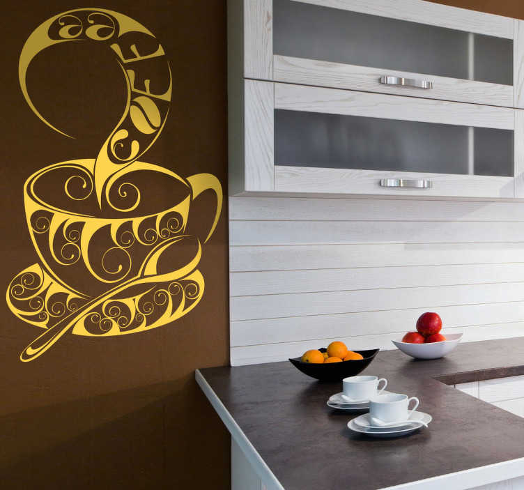 TenStickers. Cup of Coffee Wall Sticker. Kitchen Stickers - Unique and urban artistic illustration of a cup of hot coffee. Ideal for decorating your kitchen.