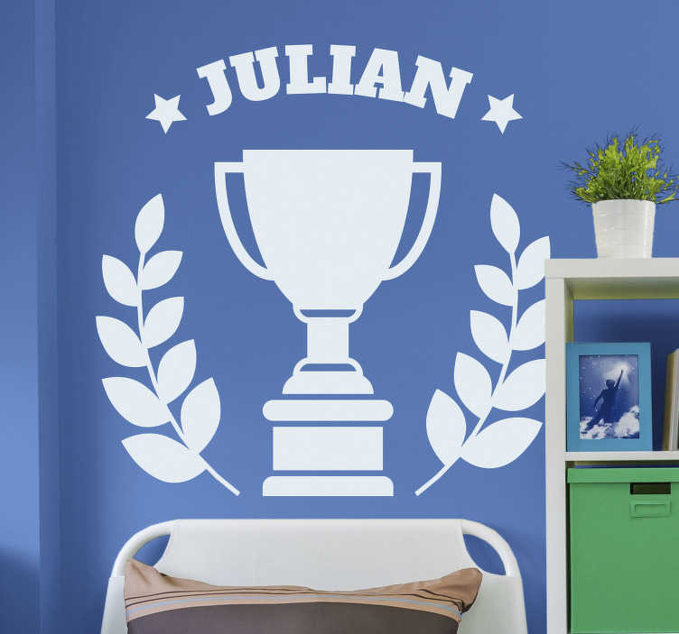 TenStickers. Personalised Trophy Wall Sticker. Show your kids how much a champion they are with this awesome personalized trophy wall sticker. Choose from a range of over 50 different colours!