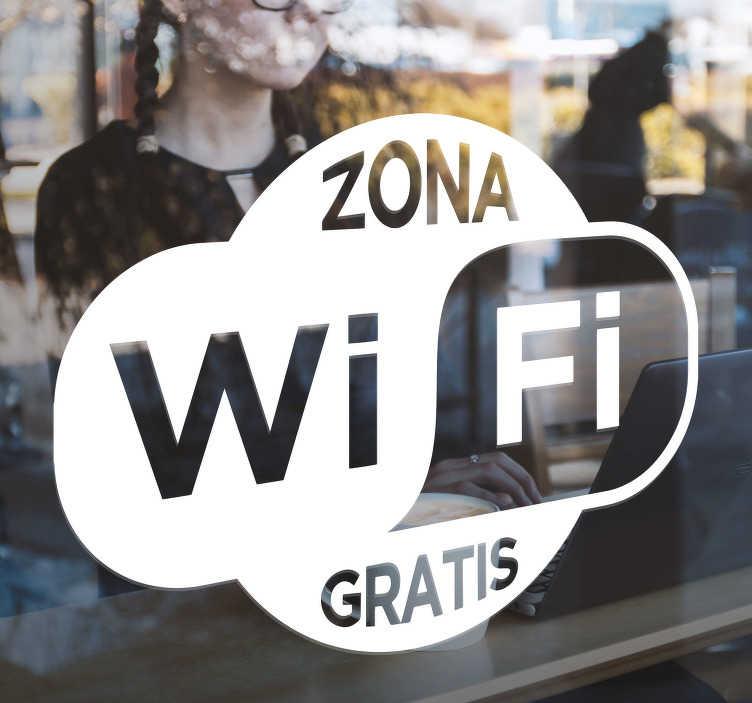 """TenVinilo. Vinilo empresa wifi gratuito. Pegatina formada por un cartel con el texto """"ZONA WIFI GRATIS"""", ideal para colocar en tu a establecimiento. Promociones Exclusivas vía e-mail."""