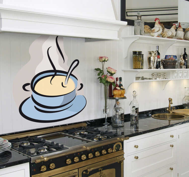 TenStickers. Sticker cuisine bol de soupe. Décorez votre mobilier ou vos murs avec ce stickers coloré pour cuisine représentant un bol de soupe chaud, parfait pour réchauffer les coeurs durant un hiver glacial.Jolie idée déco pour la cuisine.