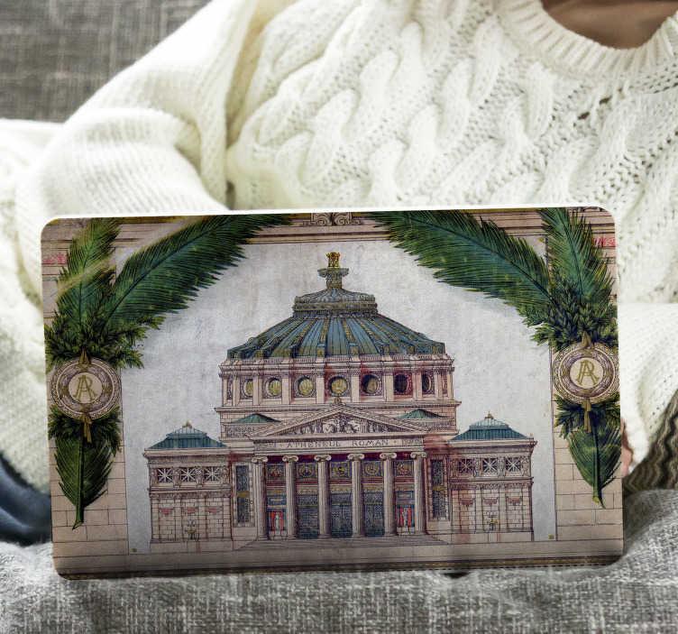TenStickers. Autocolant mural pentru perete romanesc. Ateneul roman este unul dintre bunurile care marcheaza orasul cel mai bun acest sticker de laptop este perfect pentru iubitorii acestui monument.