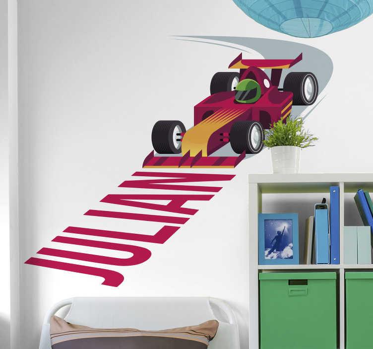 TenStickers. 个性化的赛车车贴. 你觉得你儿子的房间需要特别的触摸吗?也许是反映他兴趣的不同之处?我们为您提供完美的解决方案!
