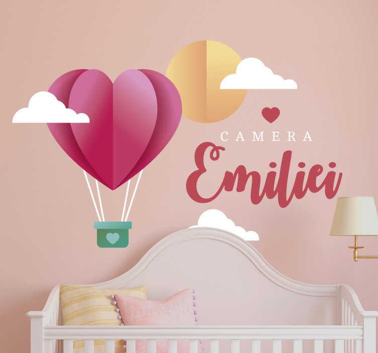 TenStickers. Autocolant personalizat de perete de balon cu aer cald. Dacă aștepți cu nerăbdare să renovezi dormitorul copiilor tăi, avem soluția perfectă pentru tine. Foarte ușor de aplicat!