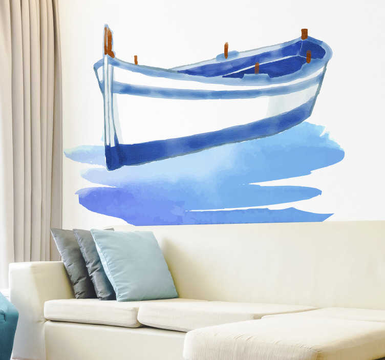 TenStickers. Watercolour Boat Living Room Wall Decor. Give your room a more relaxing feel with this beautiful watercolour boat wall sticker. Free worldwide delivery available!