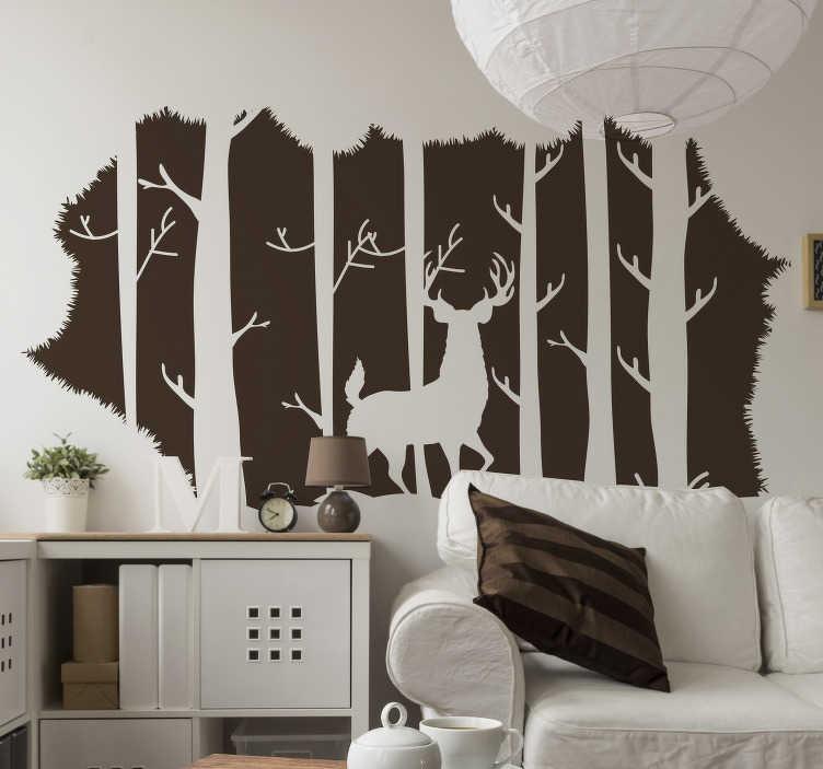 TenStickers. 在florest客厅墙壁装饰的雄鹿. 。在florest墙贴纸上的雄鹿是那些热爱大自然并想在家中尽情享受的人们的完美贴纸!