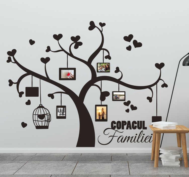 TenStickers. Arbore genealogic cu fotografii decor de perete living. Sunt momente pe care vrem să le amintim pentru totdeauna. Arborele genealogic cu autocolant de perete fotografii este un mod creativ și original de a le imortaliza.