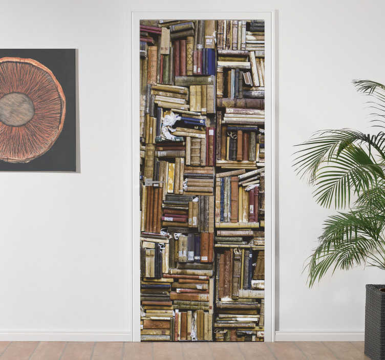 TenStickers. Library of old books glass door decal. An old pack of books library decal for door decoration.  Apply this in the living room or bedroom door and it will be amazing  with it old book look.
