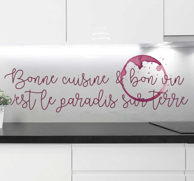TenStickers. Sticker Mural Bonne cuisine. Sticker mural pour cuisine avec tâche de vin rouge, idéal pour renouveler la décoration de votre cuisine et vos espaces intérieurs.