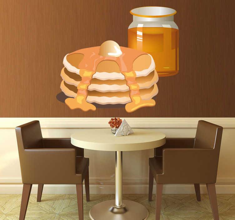 TenStickers. Vinil decorativo panquecas e mel. Vinil decorativo com a ilustração de uma pilha de panquecas com mel por cima. Adesivo de parede para decoração de interiores.